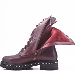 Red wine faux leather boot with lace