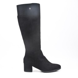 Black faux suede buckled buckle boot