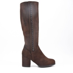Brown faux suede buckled buckle boot