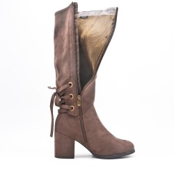 Brown faux suede boot with lace on the back