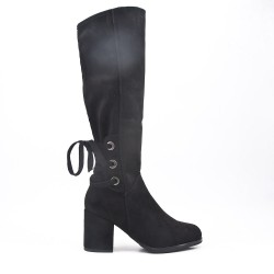 Black faux suede boot with lace on the back