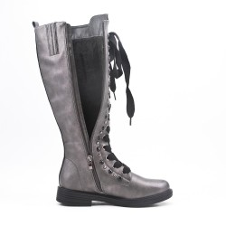 Gray faux leather boot with lace