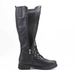 Black faux leather boot with lace
