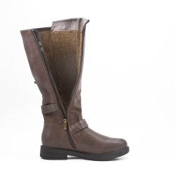 Khaki faux leather boot with buckled straps