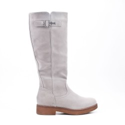 Gray faux suede boot with zip closure