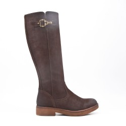 Brown faux suede boot with zip closure