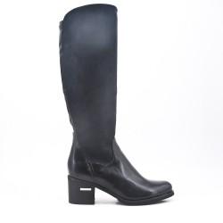 Bi-material black boot with square heel