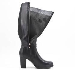 Black imitation leather boot with elasticated yoke