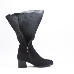 Black faux suede boot with zip closure
