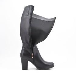 Black imitation leather boot with heel