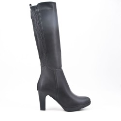 Black imitation leather boot with elasticated upper