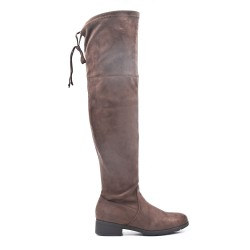 Brown suede leather thigh boots