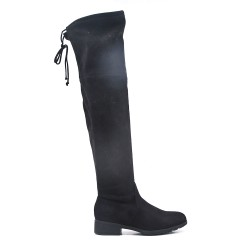 Black suede leather thigh boots
