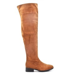 Camel suede leather thigh boots