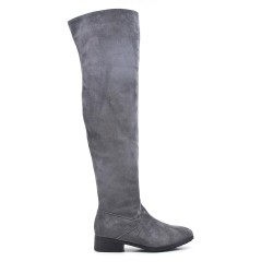 Gray suede leather thigh boots