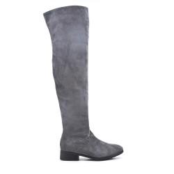 Botas de muslo de ante gris