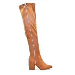 Camel thigh boots in faux suede zipped on the side