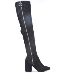 Black thigh boots in faux suede zipped on the side