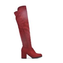 Botas de muslo de ante rojo con tacón