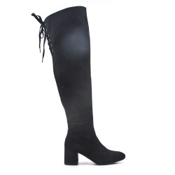 Black suede leather thigh boots with lace on the back