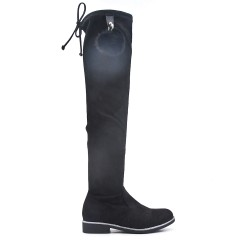 Black biker boots in faux suede with pompom