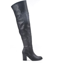 Black leather thigh boots with heel
