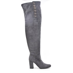 Gray suede leather thigh boots with button on the side