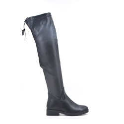 Black leatherette thigh boots