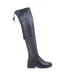 Botas de muslo de cuero negro