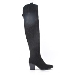 Black faux suede thigh boots with heel embroidery