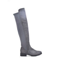 Gray thigh-high suede leather knee boots