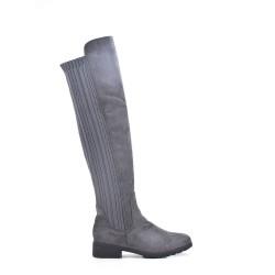 Botas de caña alta de ante gris hasta el muslo
