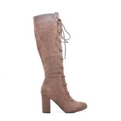 Khaki thigh high boots with buckskin