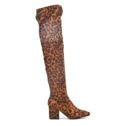 Leopard printed faux suede thigh boots