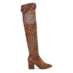 Botas de muslo de ante sintético con estampado de leopardo