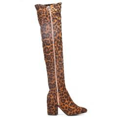 Botas sobre la rodilla de ante con estampado de leopardo con cremallera en el lateral