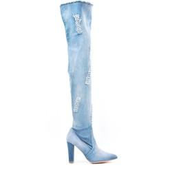 Light blue denim thigh boots with heel