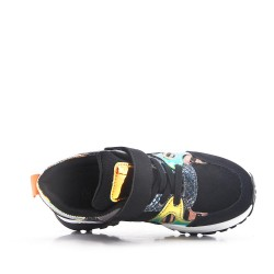 Snake pattern black children's sneaker