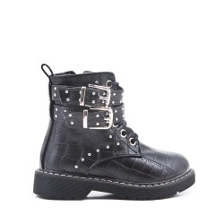 Black girl boot in imitation croc printed leather