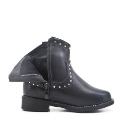 Black girl's imitation leather bootie