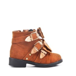 Camel girl boot with bow