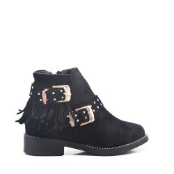 Black girl's boot in faux suede with bangs