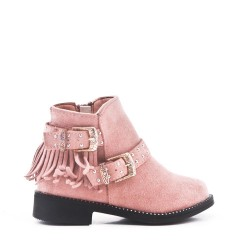 Pink girl's boot in faux suede with bangs