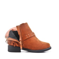 Camel girl's boot in faux suede with bangs