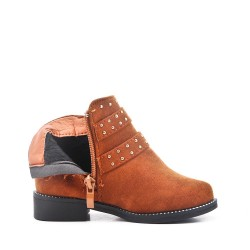 Camel girl's boot in faux suede with a strap