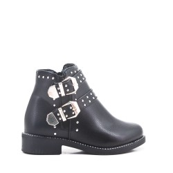 Black girl's imitation leather ankle boot