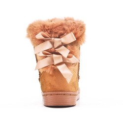 Camel girl's boot with bow at the back
