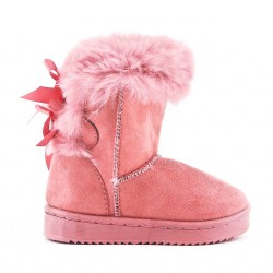 Pink girl's boot with bow at the back