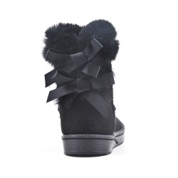 Black girl's boot with bow at the back