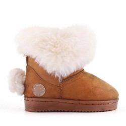 Camel girl bootie with pompon on the back